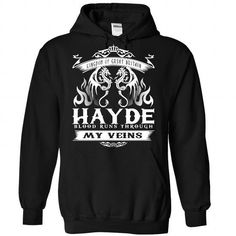HAYDE blood runs though my veins - #food gift #grandma gift. WANT => https://www.sunfrog.com/Names/Hayde-Black-Hoodie.html?68278