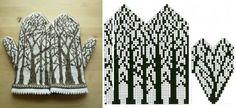 Jacquard patterns for mittens needles - scheme Knitting Machine Patterns, Knitting Charts, Knitting Stitches, Knitting Socks, Hand Knitting, Knitted Mittens Pattern, Crochet Mittens, Knitted Gloves, Knit Crochet