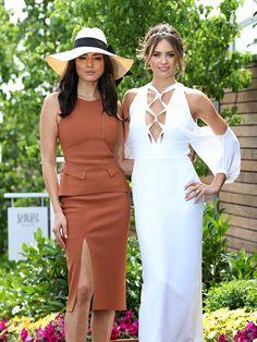Fashion and fun at Caulfield Jessica Gomes and Jesinta Campbell. Picture: Tim Carrafa