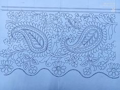 Indian Embroidery Designs, Border Embroidery, Gold Embroidery, Embroidery Stitches, Embroidery Patterns, Shadow Theater, Paisley Art, Wreath Drawing, Border Print