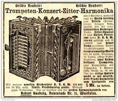Original-Werbung/ Anzeige 1907 - TROMPETEN - KONZERT - ZITTER-HARMONIKA / HUSBERG NEUENRADE - ca. 90 x 75 mm