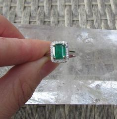 14k Emerald Engagement Ring with Diamond Halo by pristinejewelry, $930.00