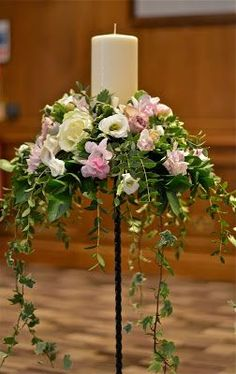 ceremony-flowers-stand-candle-ivory-purple-pink – Famous Last Words Altar Flowers, Wedding Flowers, Purple Flower Arrangements, Funeral Flower Arrangements, Fresh Flower Arrangement, Fleur Design, Deco Floral, Flower Stands, Funeral Flowers