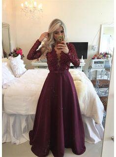 [$149.99] Long A-Line V-Neck Satin Prom Dresses 2017