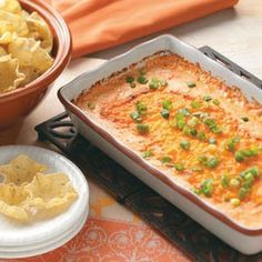 Creamy Buffalo Chicken Dip Recipe from Taste of Home -- shared by Allyson, DiLascio, Saltsburg, Pennsylvania