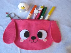 pink dog pencil case