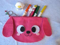 pink dog pencil case