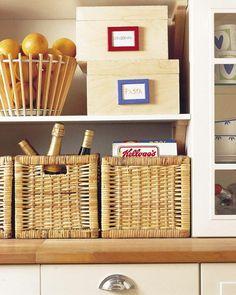 Wicker basket grocery organizers