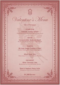The Pawn Valentine's Day Menu | Reserve a table at http://chope.com.hk/categories/restaurant/the-pawn