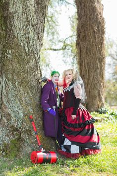 Jaime & Mike's Halloween Wedding Photo By Renouf Photography  Joker and Harley Quinn.  Make-up by Les bourgeois artistry. https://www.facebook.com/sparkle.grose/?fref=ts  costumes by KMKDesigns. https://kmkdesigns.org/
