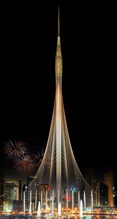 Image 1 of 1 from gallery of Santiago Calatrava Wins Competition to Design Landmark Observation Tower in Dubai. Photograph by Santiago Calatrava Santiago Calatrava, Unique Buildings, Interesting Buildings, Amazing Buildings, Office Buildings, Dubai Buildings, Dubai Tower, Dubai Skyscraper, Futuristic Architecture