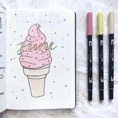 Delicious Ice Cream Bullet Journal ideas Eis Kugel Journal Layout-Idee journal how to start a Bullet Journal Fonts, Planner Bullet Journal, Bullet Journal Monthly Spread, Bullet Journal Cover Page, Bullet Journal Inspo, Bullet Journal Ideas Pages, Journal Inspiration, Bellet Journal, Cover Pages