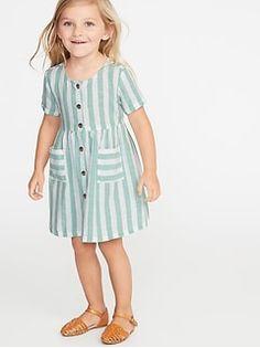 Old Navy Toddlers' Striped Waist-Defined Shirt Dress Green Stripe Regular Size Old Navy Toddler Girl, Toddler Girl Style, Toddler Girl Outfits, Little Girl Dresses, Toddler Dress, Baby Dress, Kids Outfits, Girls Dresses, The Dress