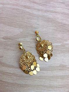 Vintage Valentine Filigree Dangle Hearts Earrings by ArtDecoDame
