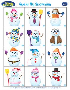 Handy Handout Therapy Activity: Guess My Snowman Snow Activities, Articulation Activities, English Activities, Speech Therapy Activities, Language Activities, Kindergarten Activities, Preschool Activities, Play Therapy, Art Therapy