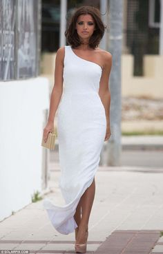 Pure perfection: Lucy looked more like a movie star than a TOWIE girl in a white dress on Tuesday