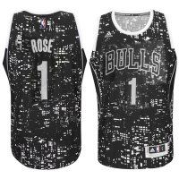 Chicago Bulls #1 Derrick Rose City Lights Black Swingman