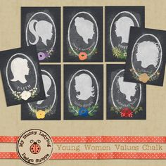 Young Women Values Chalkboard Prints 8 5x7 by ShabbyLadybug on Etsy, $20.00