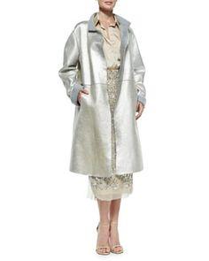 Donna Karan Metallic Leather Topper Coat, Platinum