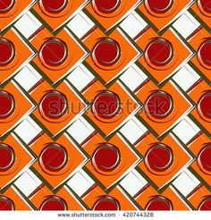 Geometric vector pattern with shapes, circles, squares, rhombus. Seamless background in patchwork style. Ethnic texture with red and orange blocks. For wallpaper, pattern fills, web page background. - stock vector