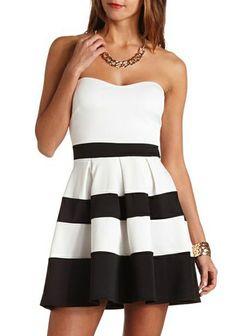 White Black Striped Strapless Pleated Dress EUR€23.18