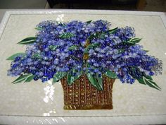 fused Mosaics | Fused Glass Floral Backsplash (Blue Hydrangea) | Designer Glass ...