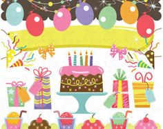 birthday Clip Art , baby birthday, party graphic kids party  perfect for Scrapbook, Cards, Invitations,Personal and Commercial Use Bs010
