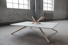 Dana Cannam Design  Inspired by the process of crystallization, the Bravais Lattice Table is based on the tetragonal lattice system used to identify crystal formations through the arrangements of points in space.