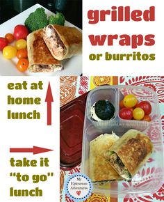 Grilled wraps or burritos for lunch. Pack it to go in @easylunchboxes
