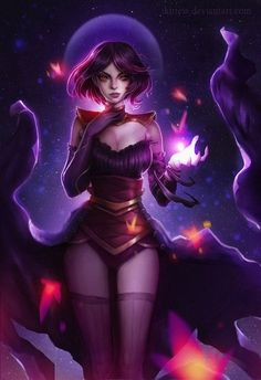 concept character witch design oc dress art draw kittew violet magic girl sexy cloth armor moon hair color