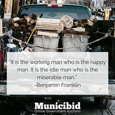 Check out some of our great items that can keep you from staying idle at Municibid.com! #OnlineAuction #Auction #Auctions #ForSale #Truck #WorkingMan #BenjaminFranklin
