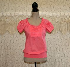 Coral Peasant Blouse Hippie Clothes Boho Clothing Embroidered