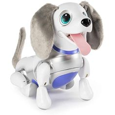 """With sophisticated voice recognition technology, Playful Pup responds to sound & touch with cute barks & adorable tricks! RESPONDS TO SOUND & TOUCH: Give your toy robot pet snuggles, cuddles & belly rubs and he'll """"woof"""" in delight! Trinidad En Tobago, Things That Bounce, Cool Things To Buy, Cuddles And Snuggles, Robots For Kids, Kids Toys, Real Dog, Interactive Toys, Interactive Design"""