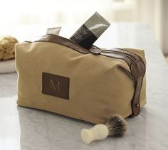 Groomie gift: Saddle Leather & Canvas Toiletry Case #potterybarn