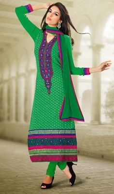 Green Chiffon and Georgette Long Churidar Suit Price: Usa Dollar $98, British UK Pound £58, Euro73, Canada CA$106 , Indian Rs5292.