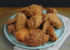 Big Mama's Fried Chicken chicken pieces 3 large eggs, beaten 2 teaspoons hot sauce 1 teaspoon Worcestershire 2 cups all-purpo. Appetizer Recipes, Appetizers, Dinner Recipes, Fried Chicken Recipes, Golden Bird Fried Chicken Recipe, Down South, Food 52, Dessert, Soul Food
