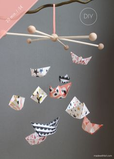 DIY - Móvil de barquitos de papel - Made with lof