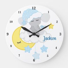 Blue Elephant Baby Boy Nursery Moon Star Cloud Large Clock#baby #blue #boy #clock #cloud #elephant #large #moon #nursery #star Elephant Nursery Decor, Star Nursery, Girl Nursery, Nursery Art, Moon Nursery, Nursery Ideas, Room Ideas, Baby Girl Elephant, Pink Elephant