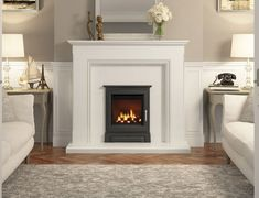 Eternia surround in White micro marble featuring a Cast Stove Front gas fire 1930s Living Room, Living Room Decor, Living Rooms, Stove Fireplace, Fireplace Ideas, 1930s House Extension, Inset Stoves, Fireplace Suites, Style Lounge