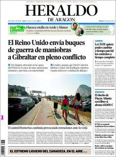 Los Titulares y Portadas de Noticias Destacadas Españolas del 9 de Agosto de 2013 del Diario Heraldo de Aragón ¿Que le pareció esta Portada de este Diario Español?