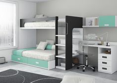 Kids Touch 66 Litera y escritorio Juvenil Literas y cama tren Habitación con Litera y escritorio de Muebles Ros