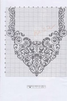 This Pin was discovered by mil Crochet Yoke, Filet Crochet Charts, Crochet Collar, Crochet Cross, Crochet Diagram, Knitting Charts, Knitting Patterns, Crochet Patterns, Thread Crochet