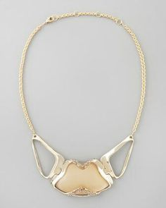 Alexis Bittar Golden-Encased Taupe Lucite Necklace