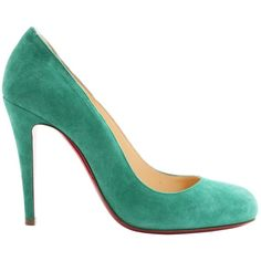 Pre-owned Christian Louboutin Fifi Heels ($412) ❤ liked on Polyvore featuring shoes, pumps, green, women shoes heels, green pumps, suede shoes, suede pumps, round toe suede pumps and round cap