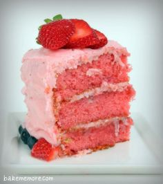 Strawberry cake - I feel like using a cake mix is cheating, but it looks delicious!