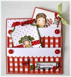 handcrafted card ... double pockets with matching tags ... red and white gingham and polka dots ...