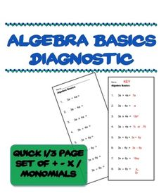 I made this for my math remediation group to assess their understanding of basic operations. It is just 8 algebra exercises - two each of   , - , X, and / . There are 3 copies on a landscaped page --- save paper! The thumbnail shows the whole thing - nothing earth-shattering here......just a time saver.