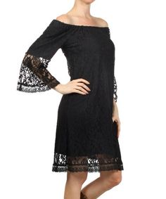 Love this Black Lace Off-Shoulder Dress - Women & Plus by L & B on #zulily! #zulilyfinds