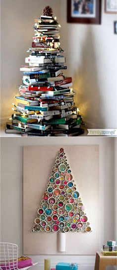 Amazing Christmas Decoration Ideas - DIY Christmas Trees 18 BEST creative & beautiful DIY Christmas trees using simple or free materials. Amazing ideas for Christmas decorations in every room & any small spaces! - A Piece of Rainbow Small Christmas Trees, Christmas Wood, Diy Christmas Ornaments, Simple Christmas, Xmas Tree, Christmas Tree Decorations, Christmas Lights, Recycled Christmas Tree, Christmas Movies
