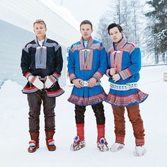During the Jokkmokk Winter Market, a festival that's taken place each February since the in Sweden's Lapland region, the Sami people… Lappland, We Are The World, People Of The World, Tribal People, Fjord, Folk Costume, Costumes, Scandinavian Style, Traditional Dresses